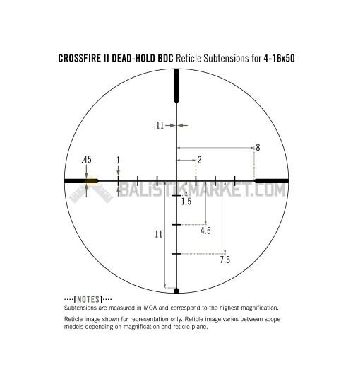 Vortex Crossfire II 4-16×50 Dead-Hold BDC MOA Tüfek Dürbünü